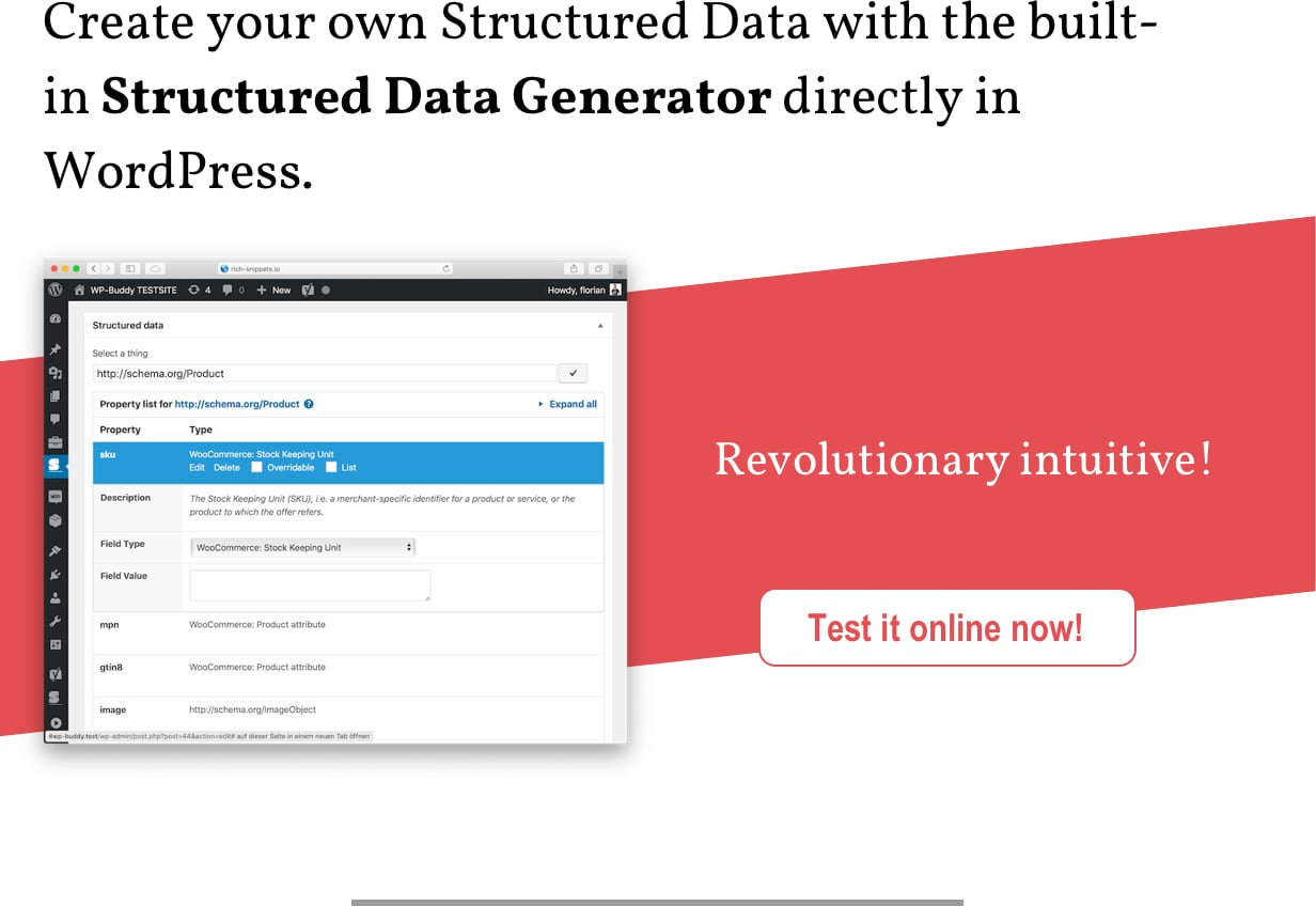 Create your own Structured Data with the built-in Structured Data Generator directly in WordPress