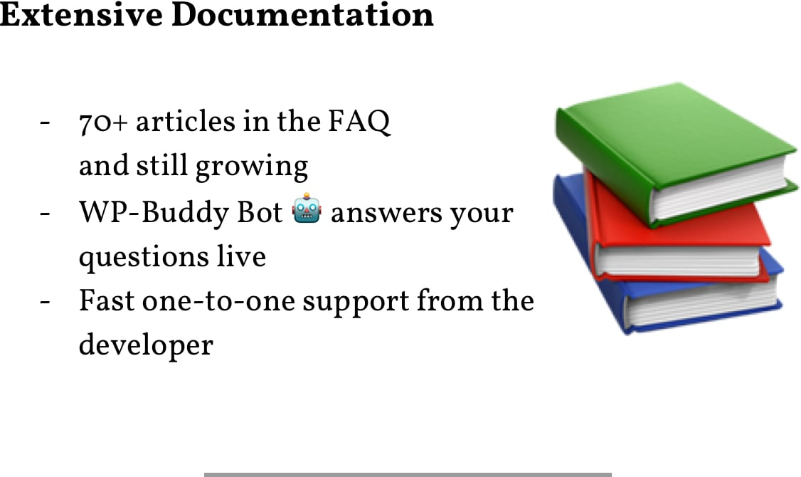 Extensive Documentation: 70+ Articles in the FAQ; WP-Buddy Bot answers your questions live; Fast one-to-one support from the developer.