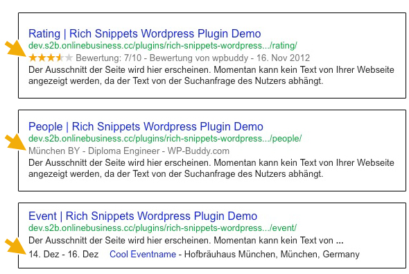 Rich Snippet Examples