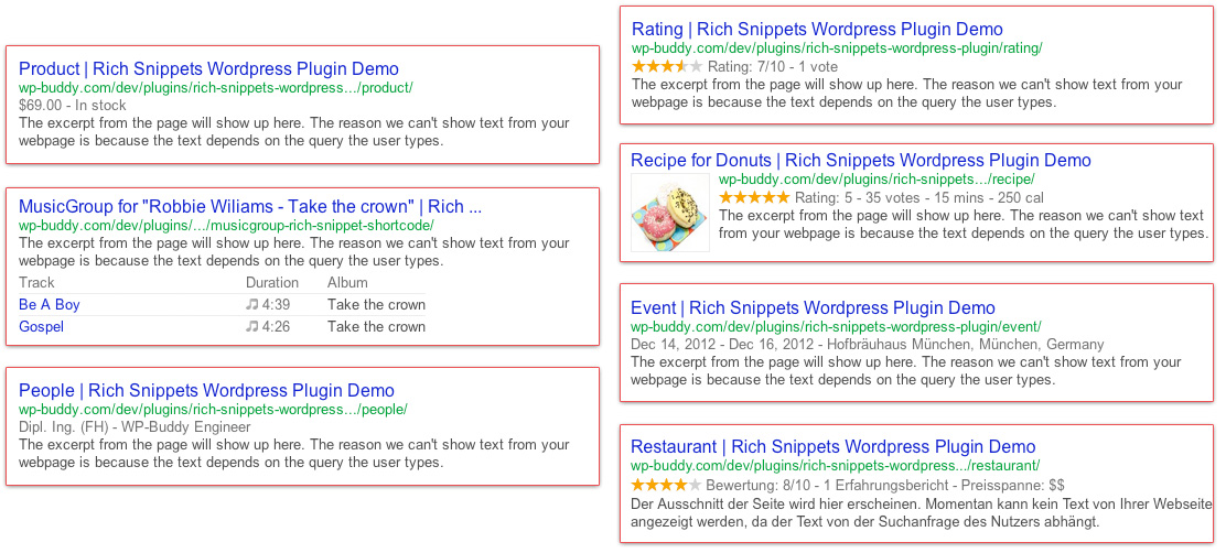 Rich Snippets Code Examples