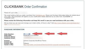 Where to find the ClickBank order number in the email.