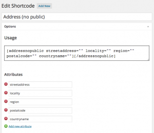 Schema.org Address Shortcode Attributes