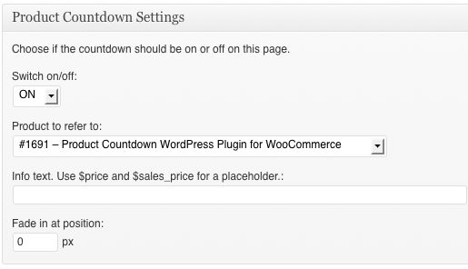 Product Countdown Settings on a page