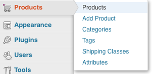 WooCommerce products menu in WordPress
