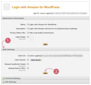 Login with Amazon Application Information