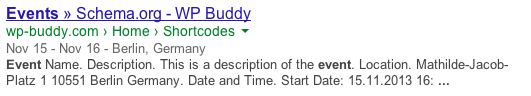 Rich Snippets Event Example