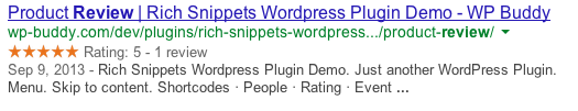 Rich Snippets Review Example