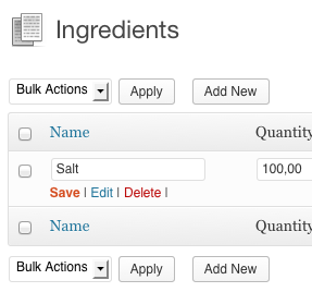 Edit an Save an ingredient