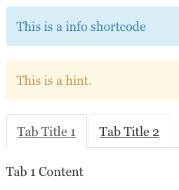 Info, Hint and Tabs Shortcodes Examples