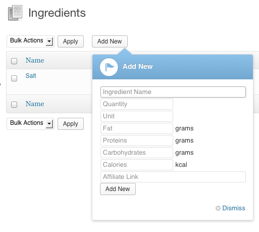 Add a new ingredient on the Minimal Food WordPress Theme